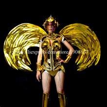 Золотое покрытие Виктория танец дефиле Модель платье для танцев крылья костюмы бар КТВ вечеринок сцены Костюмы