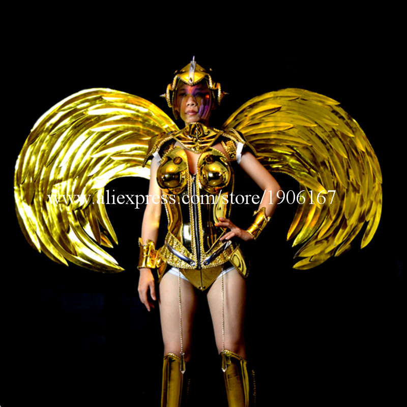 Gold Plating Victoria Dance Catwalk Show Model Dance Dress Wings Costumes Bar KTV Party Supplies Stage Performance Clothing