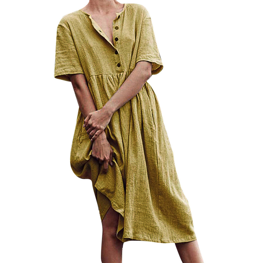 Casual Solid Minimalist Sweater Straight Dress Women Autumn O-Neck Button Color Short Sleeve Cotton And Linen Easy Dress Z423