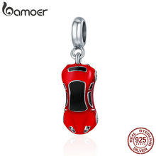 BAMOER 2018 Novo 100% 925 Sterling Silver Moda Sports Car Charme Pendant fit Mulheres Charm Bracelet & Bangle Jóias DIY SCC484(China)