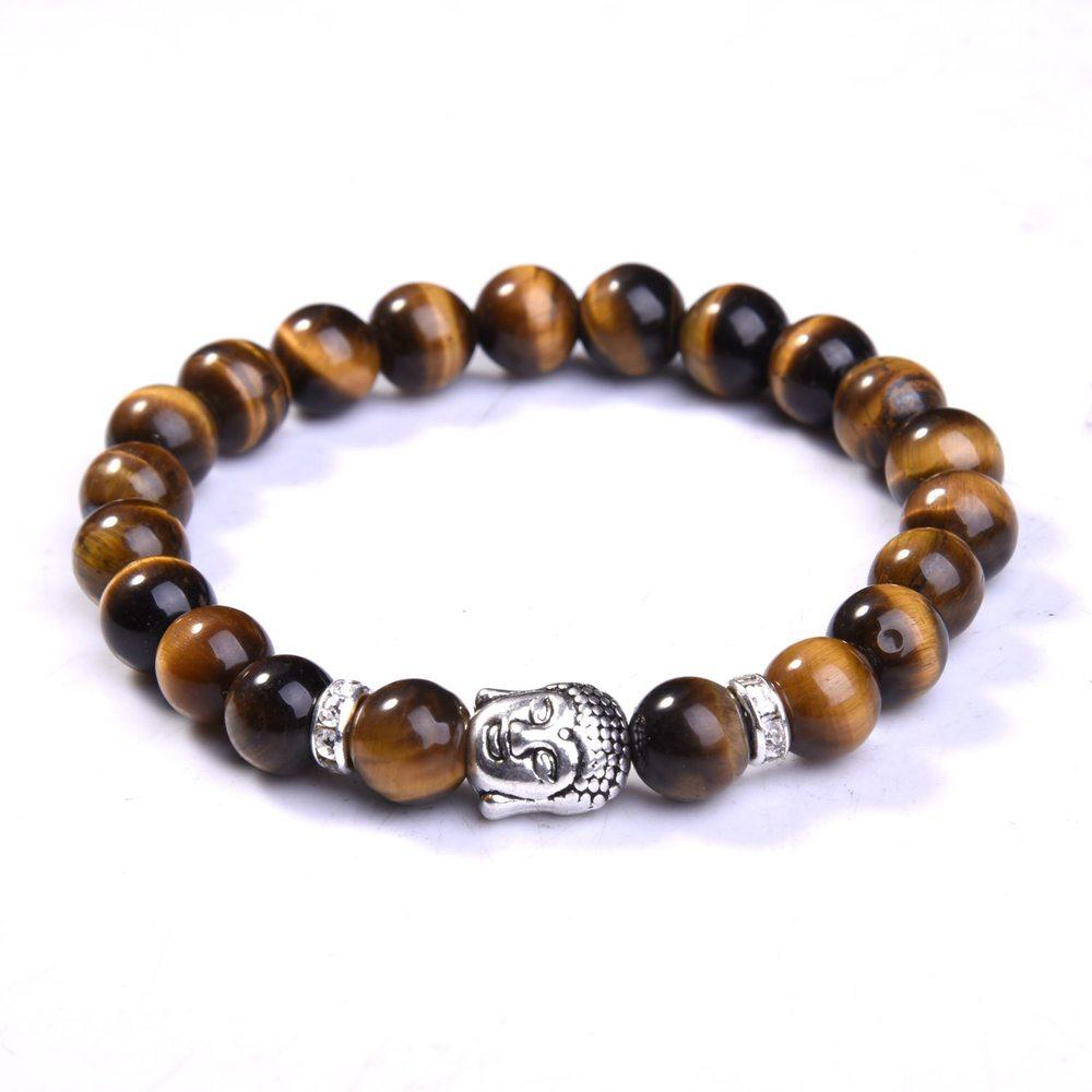 Popular 8mm Natural Round Stone Tiger Eye Beads Buddha Bracelets 7 Chakra Healing Mala Meditation Prayer Yoga Women Jewellery