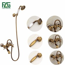 Antique Bath Faucet Shower Bronze Porcelain Bathroom Telephone with Hand Tap