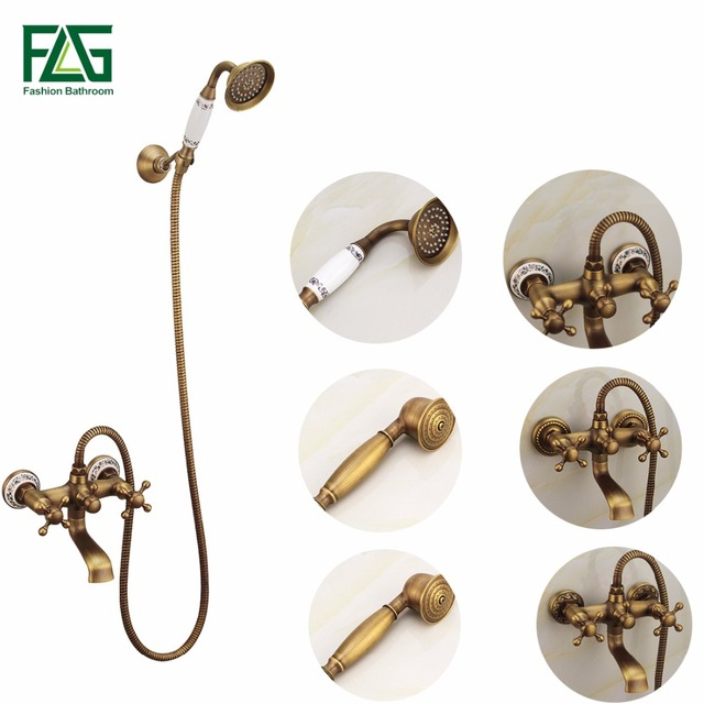 Antique Bath Faucet Shower Bronze Porcelain Shower Faucet Bathroom ...