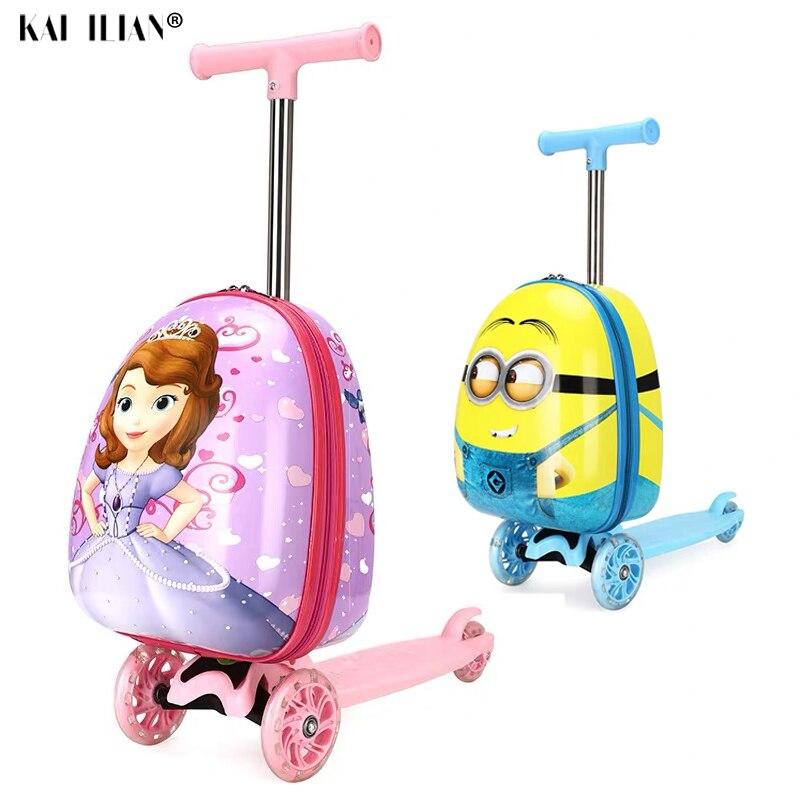 Bonito Dos Desenhos Animados para crianças scooter de mala com rodas saco do trole crianças Preguiçoso carry na cabine de viagem rolando bagagem saco Skate presente