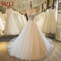 SL 55 V Neck Beach Wedding Gowns Plus Size Cheap Wedding Dress Lace