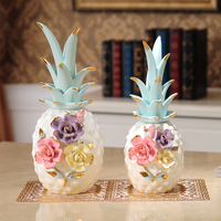 White Ceramic Pineapple miniature figurines plant fruit bromel home decoration accessories Arts and Crafts wedding Gifts