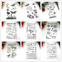 9pcs/lot Randomly Silicone Flower/Animals/Letter Clear Stamps For Craft Supplies Scrapbooking DIY Stempel Klare Diary Decoration