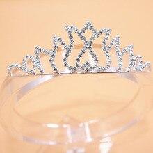 Мода для девочек; повязка на голову для принцессы Детские вечерние Свадебная Корона оголовье С кристалалми и стразами тиара обруч для волос аксессуары, ленты для волос