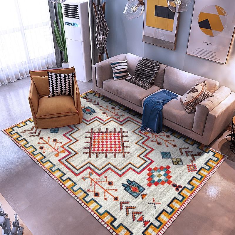 Bohemian Style Carpet Moroccan Ethnic Carpets Bedroom Sofa Coffee Table Floor Mat Washable Antiskid Plush Rugs Tapete Para Sala