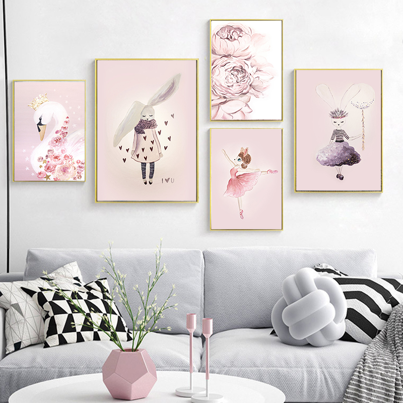 Home Decor Canvas Prints Nordic Cartoon Rabbit Swing Poster Wall Pictures For Living Room Kids Room Decor Watercolor Illustration Elegant In Style Home & Garden