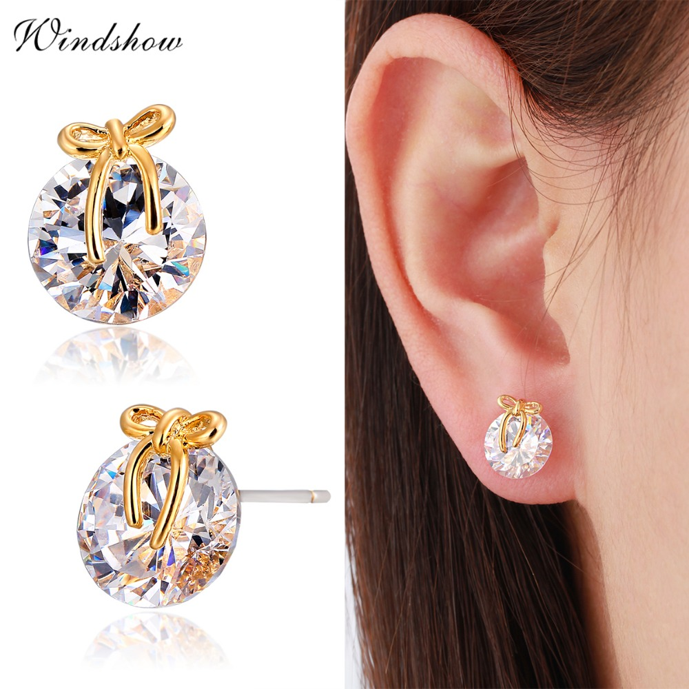 Yellow Gold Color Cute Bowknot Round Cupid Cut Zircon Cz Stud Earrings For Women Children S Baby Kids Jewelry In From