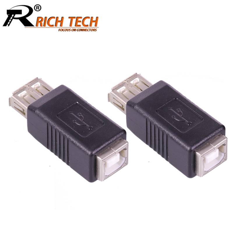100pcs/lot USB2.0 A Type Female to USB B Type Female Adapter USB A to B F/F Coupler Connector USB Converter RICH TECH Wholesales