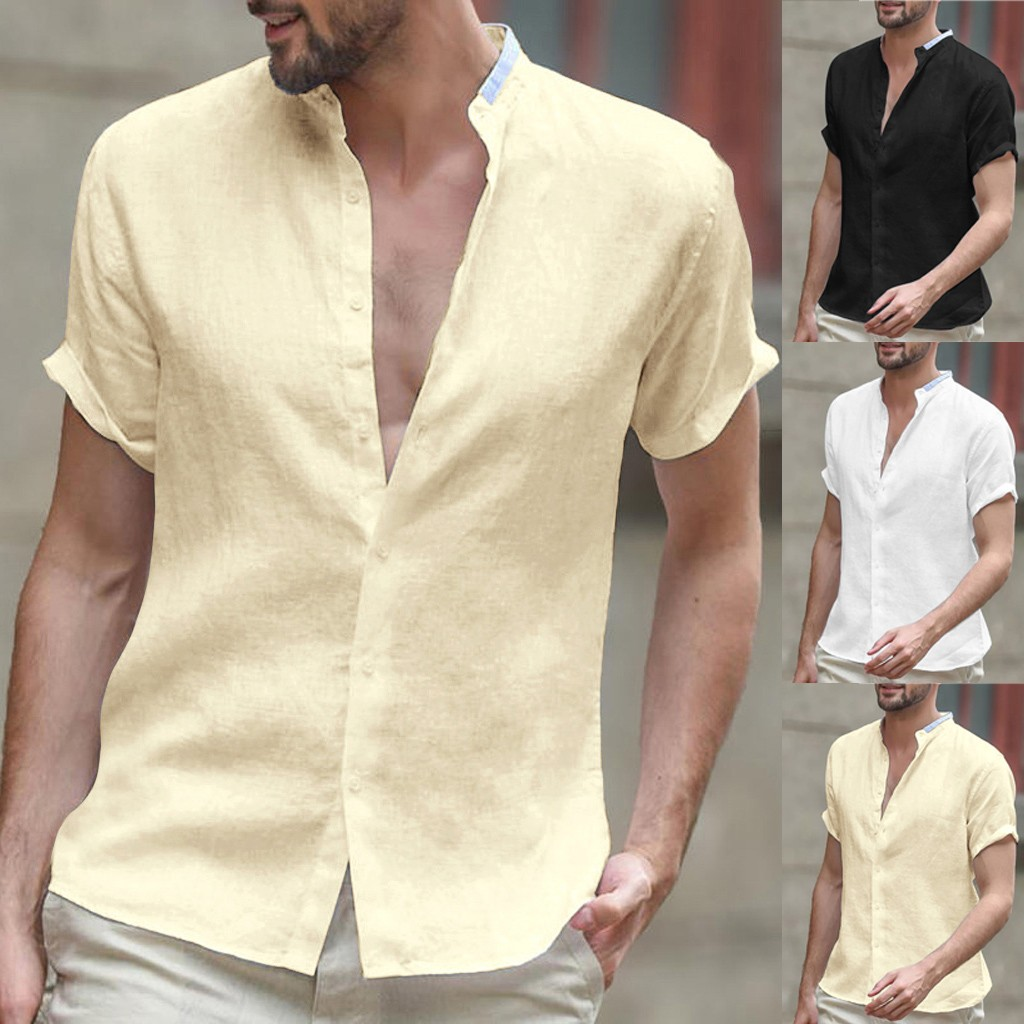 Are You Sure Not To Click In And See? Men's Baggy Cotton Linen Solid Short Sleeve Button Retro  Shirts Tops Blouse S-2XL
