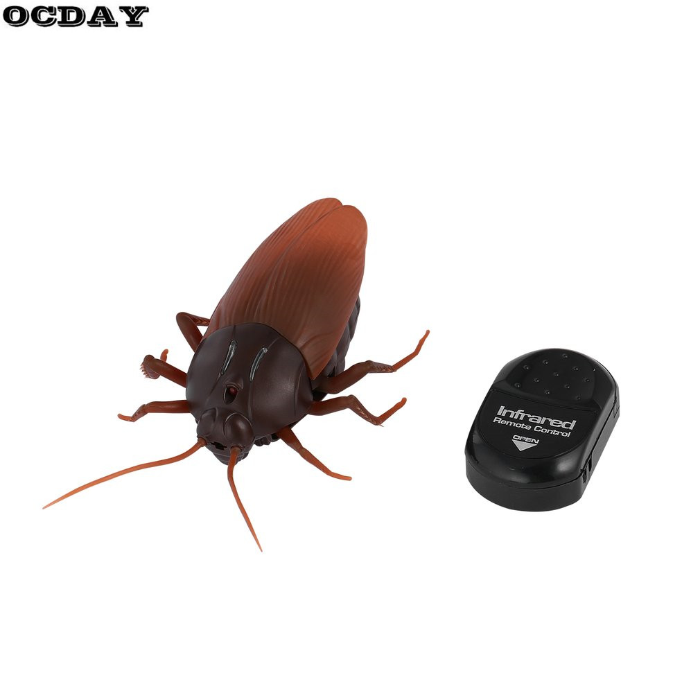 Infrared IR Remote Control Cockroach Realistic Fake Roach RC Luminous Prank Toy Joke Scary Trick Bugs for Christmas Party Toys