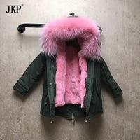 Winter children fur parka raccoon fur collar kids rex rabbit mink fur lining warm thick boys girls hooded coat outwear jacket