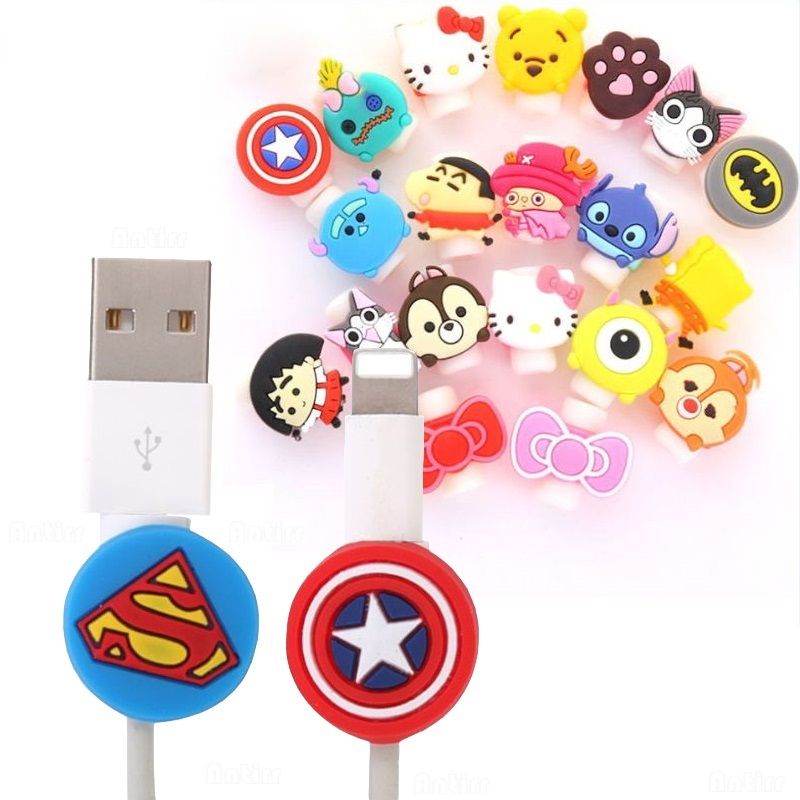 Cute Cartoon Cable Protector Cover Data Line Cord Protection Silicone USB Charger Headset Dataline Protector Home Office Storage