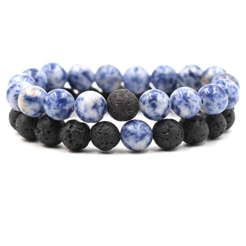 10 مللي متر الأسود الحمم بركان الحجر الأزرق الأبيض الخزف روك خرز سوار أساور للنساء الرجال سحر سيدة مجوهرات هدية