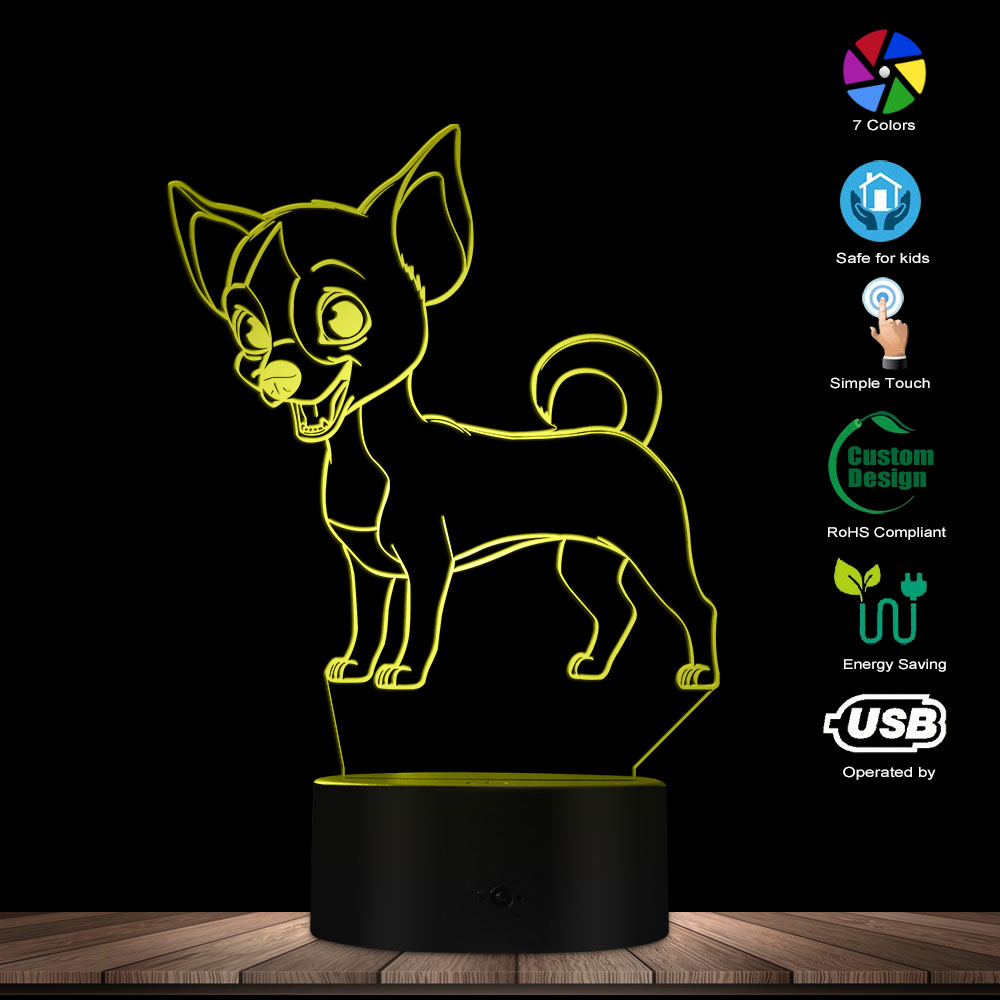 Chihuahua Dog 3D Optical Illusion Light USB Modern Night Lamp Cute Animal Glowing LED Light Home Decor Desk Lamp Mood Lighting