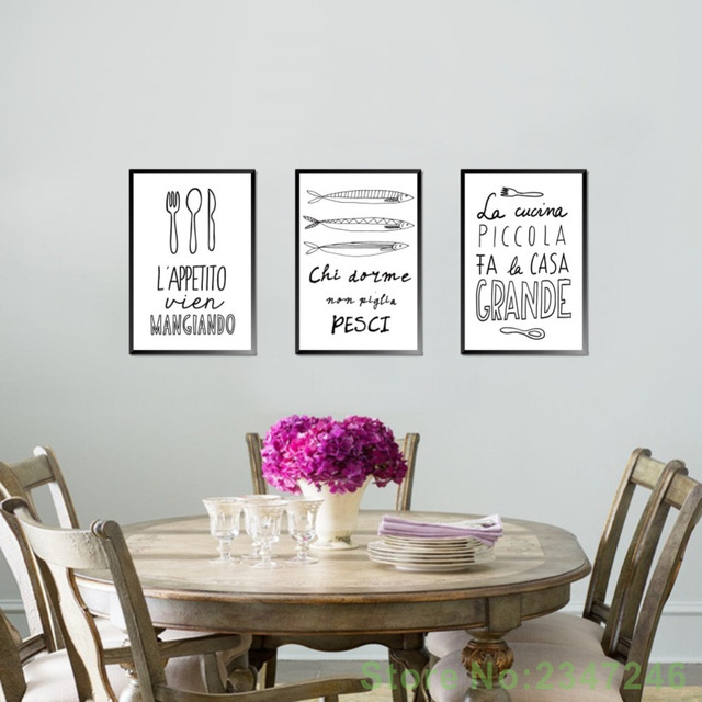 Italian Quotes Wall Art Canvas Painting Kitchen Decoration