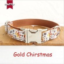 Gold Christmas Holiday Metal Buckle Dog Collars Accessory Collar For Training Outdoor Comfortable Necklace Pet