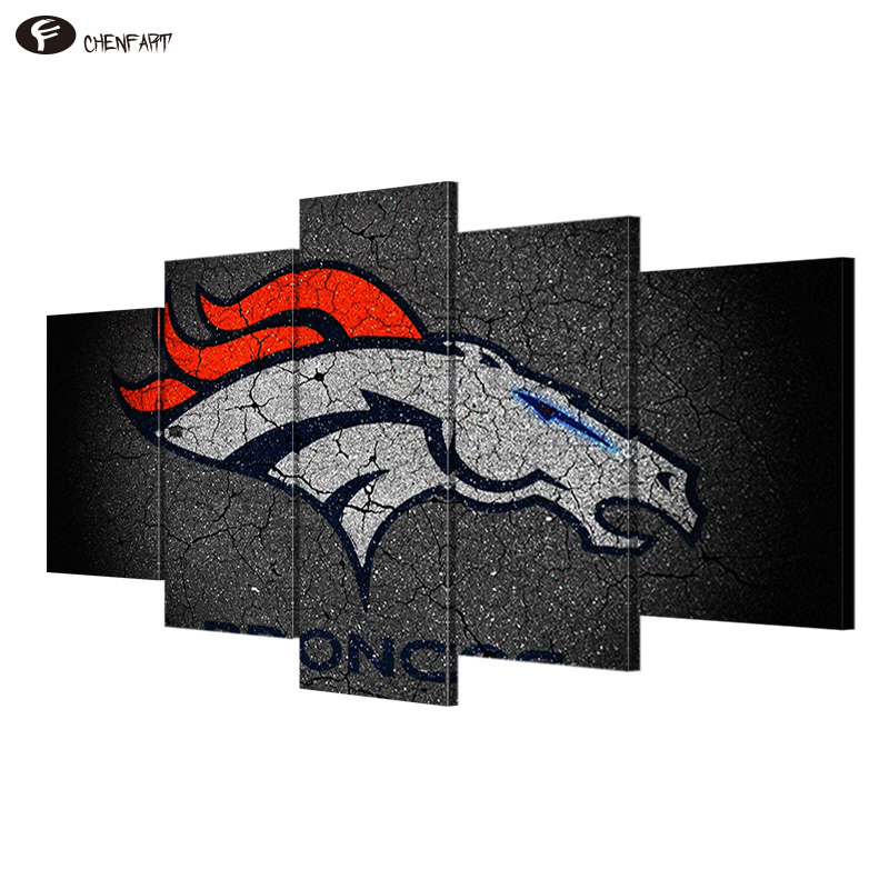 CHENFART 5 Pieces Canvas Bear Painting Wall Art Pictures For Living Room Sport Passion Denver Broncos