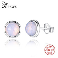 Forewe Popular October Birthday Gift 925 Sterling silver Transparent Birthstone Droplets Stud Earrings Trendy Jewelry for Women