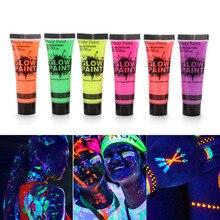 24 трубки 10 мл/0,34 унций художественная краска для тела светящаяся в темноте или УФ-свет краска для лица и тела с 6 цветами светящиеся неоновые, флуоресцентные