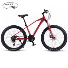 wolfs fang Bicycle Mountain bike Road Fat bikes 21 speed 26*3 0 Aluminum alloy bicycle Man fatbike road Bike Free shipping cheap Steel Unisex 16kg 0 1 m3 160-185cm Spring Fork (Low Gear Non-damping) Front and Rear Mechanical Disc Brake Hard Frame (Non-rear Damper)