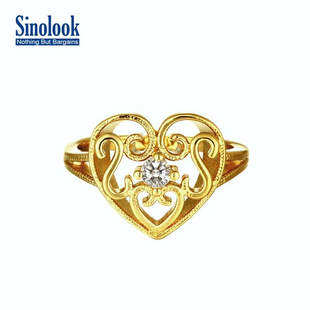 New Design Hollow Heart Ring Fashion 18k Gold Rose Gold Plated