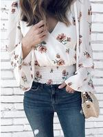 2019  New Fashion Summer Women Elegant Casual Shirt Floral Flared Sleeve Shirring Wrap Blouse Blouses