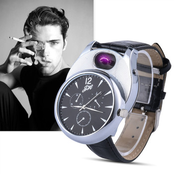 Мужские кварцевые наручные часы с зарядкой от USB, зажигалка, цифровые часы, кожаный ремешок, мужской подарок JH338, 1 шт.