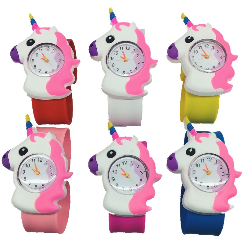 Fashion lovely cartoon 3D pattern unicorn design kids children watches wholesale girls students slap snap gift