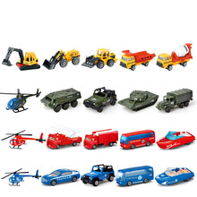 лучшая цена 1:72 Children toy taxiing alloy truck set engineering Fire engine helicopter die-casting series 5 inertial resilience model toys