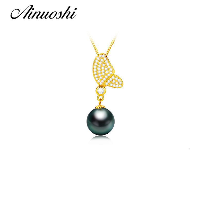 AINUOSHI 925 Sterling Silver Yellow Gold Color Butterfly Shaped Necklace Pendants Natural Tahitian Black Pearls Women