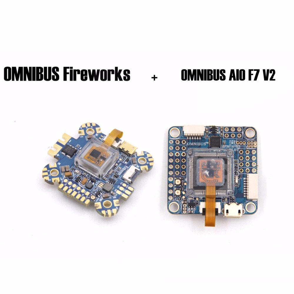 OMNIBUS AIO F7 V2 and OMNIBUS Fireworks Flight controller board For RC FPV Racing Cross Drone Quadcopter omnibus aio f7 v2 flight controller board and 4 pieces wraith32 32bit blheli esc for fpv quadcopter drone frame