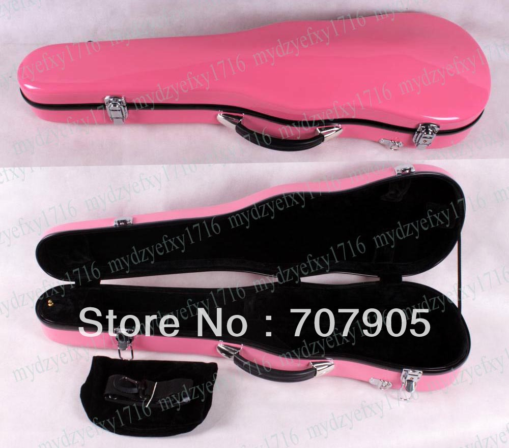 ФОТО High quality violin case 4/4 Glass fiber case Waterproof Light Durable reinforced Dropshipping Wholesale pink
