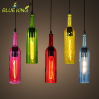6 Colors Colorful Wine Bottle Glass North Europe Brief Modern Pendant Lamps For Resteraunt Coffee Shop