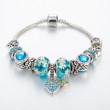 Annapaer 2019 mais novo europeu azul charme pulseiras para as mulheres coração-lock chain pulseiras & pulseiras diy jóias pulseras b16071