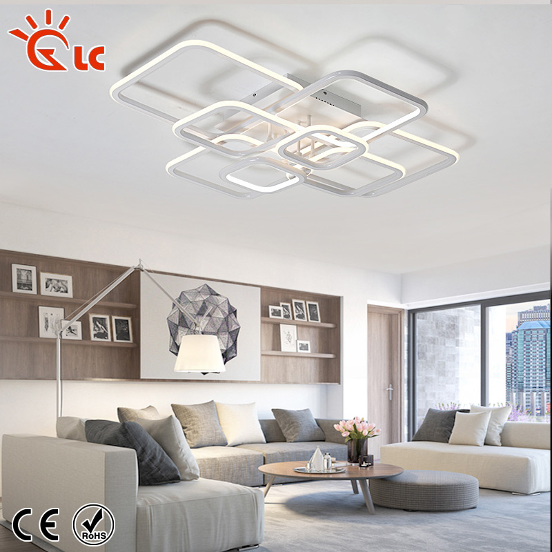 Lanchuang Creativity LED ceiling chandelier Dimmable White Acrylic Aluminum Ceiling Lamp living roomIndoor Ceiling Lighting managerial creativity