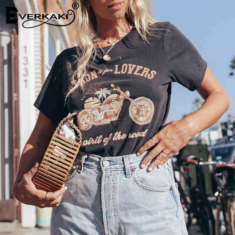 Everkaki Vintage T Shirt Women Motorcycle Pattern Retro T Shirt Tees&Tops Short Sleeve Boho Print Tee Shirt Summer 2020 New