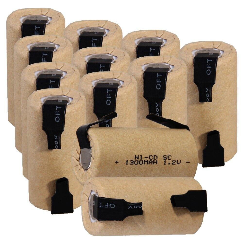 12 pièces SC 1300 mah 1.2 v batterie piles rechargeables NICD pour tournevis électrique perceuse électrique 4.25 cm * 2.2 cm pour outils électriques