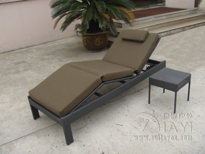Elegant 2pcs Outdoor Patio Rattan Sun Lounger , Balcony Dark Brown Lounger  Transport By Sea(China
