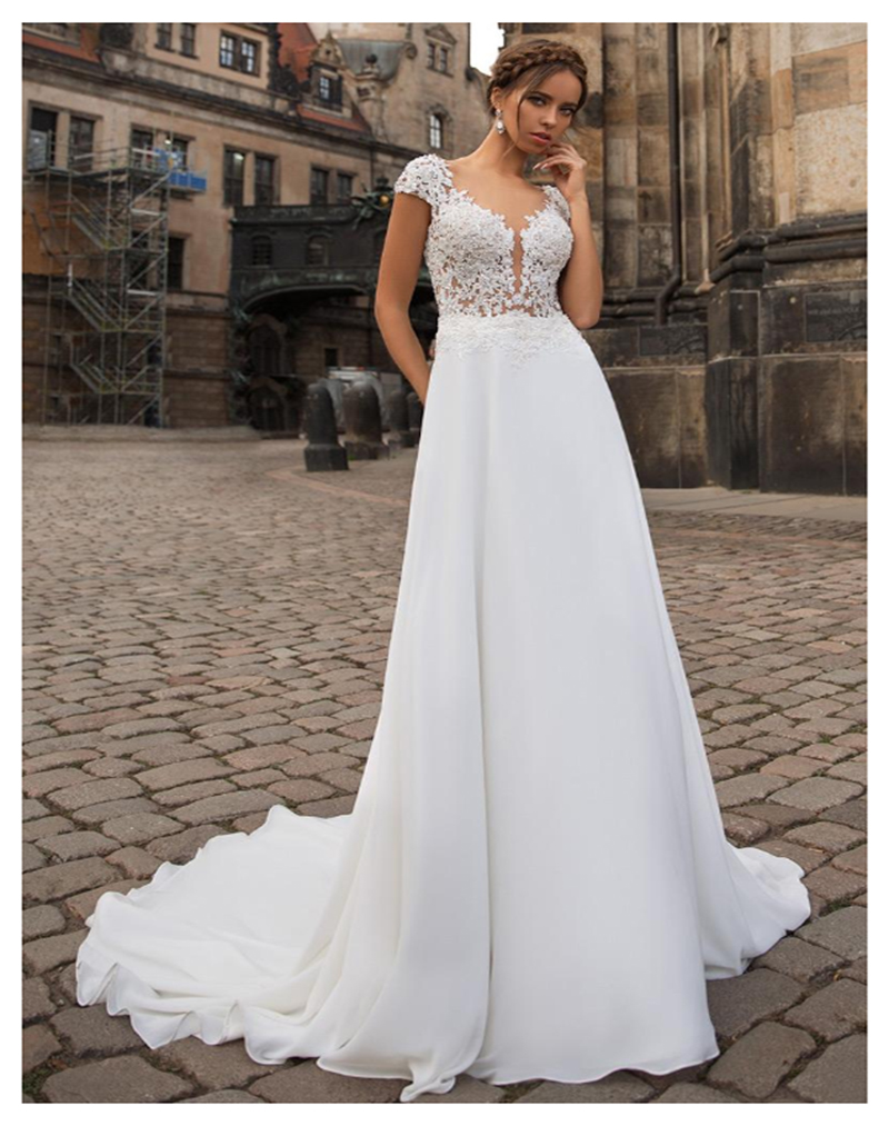 LORIE Princess Wedding Dress 2019 Short Sleeves Appliqued With Lace Top Beach Boho Wedding Gown Chiffon Bride Dresses