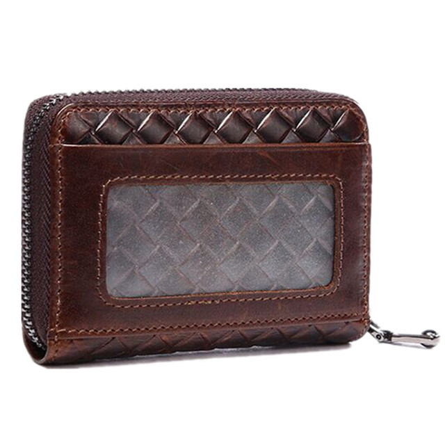 Top Quality First layer oil wax cowhide Vintage Card & ID Holders fashion weaving Zipper coin pocket male leather Mini money bag