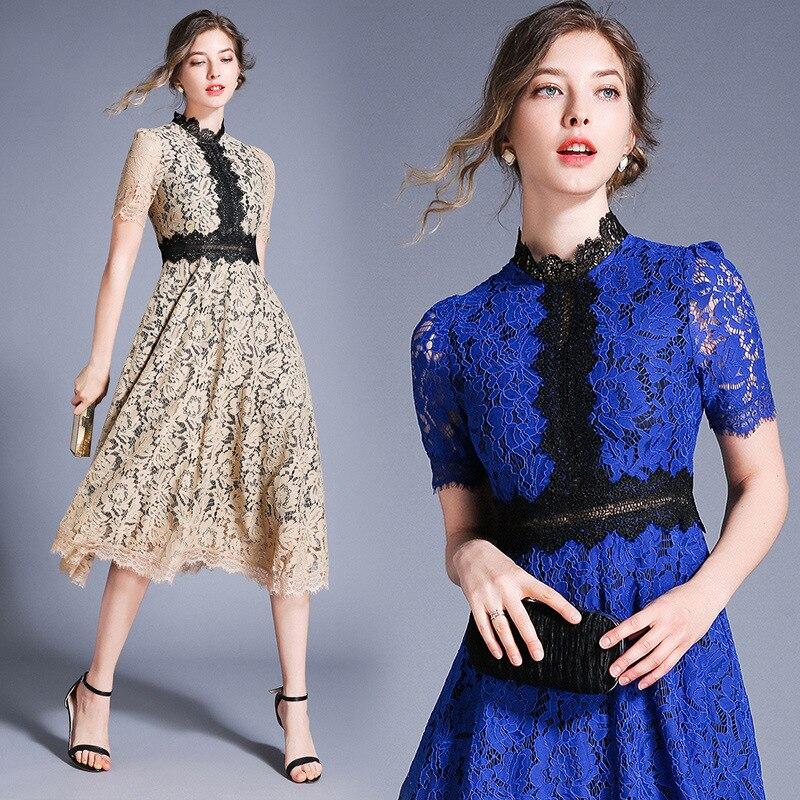 S-XXL grande taille évider bleu dentelle robe pour les femmes Patchwork grande balançoire lâche élégante robe femmes Floral d'été robe 2019 - 5