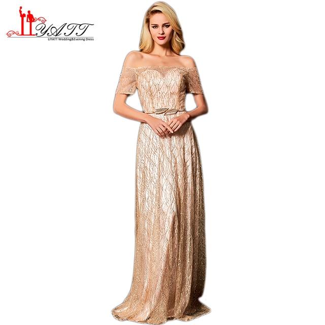 Liyatt 2018 New Sparking Beading Formal Evening Dresses Elegant Off  Shoulder Gold Sash Long Prom Dress Women Party Gown Custom 154b5574fa7d