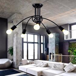 Kreatywny E27 5 światła żarówki żelaza lampa sufitowa światła dekoracji światła salon łóżko