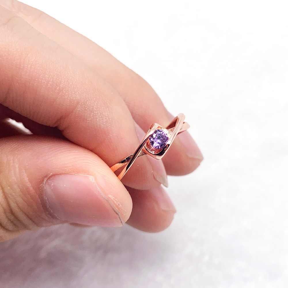 זהב טבעות לאישה AAA סגול זירקון גלמור ליידי תכשיטים סיטונאי מתנות חג מולד טבעת זוג חתונה