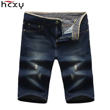 HCXY Mens Shorts 2017 New Summer Brand Regular cotton Casual   Male Short Masculina Hole Jeans Shorts For Men