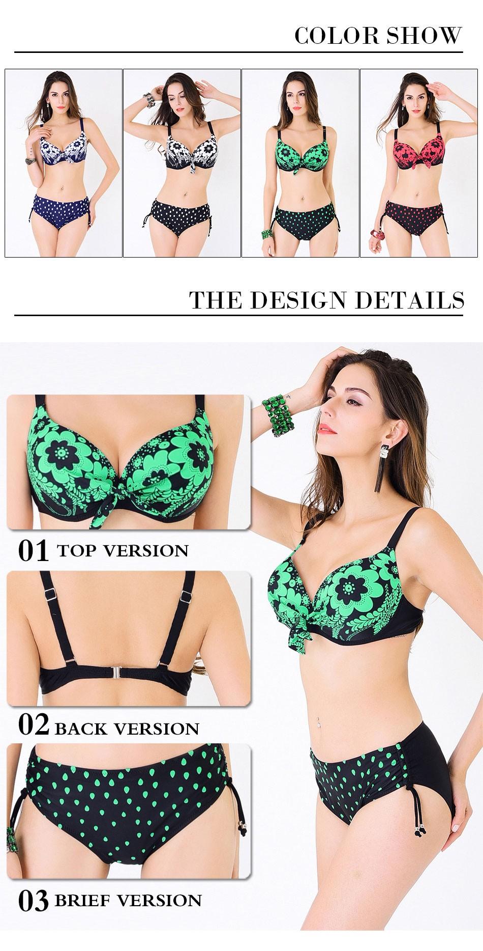 plus size swimwear plavky swimsuit women Swimwear bikini 16 bikini set swimsuit solid female Large Size Swimwear bathing suit 4